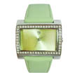 Rectangular green sunray diamond watch
