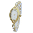 Golden ladies chain watch diamonds accented